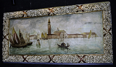 """A Scene from Venice"" hangs on Sherman Theatre's back wall."