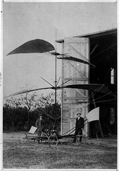 William J. Purvis and Charles A. Wilson with their 'gyrocopter'.